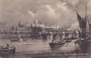 TUCK# 1403, Boats, Blackfriars Bridge, Showing St. Paul´s, London, England, ...
