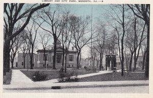 MENDOTA, Illinois, 1930-1940s; Library And City Park