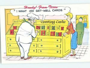 Pre-1980 comic CHEF SHOPS FOR 150 GET WELL CARDS DUE TO FOOD POISONING HL3608-12