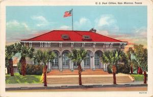 San Marcos Texas~US Post Office~Palm Trees in Front~1940s Linen Postcard