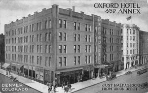 Denver Colorado Oxford Hotel And Annex Birdseye View Antique Postcard K20312
