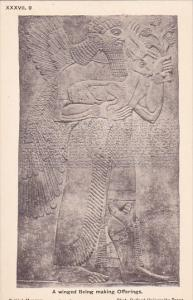 Palace of Assur wall panel , Iraq , 00-10s : Winged Being making offerings