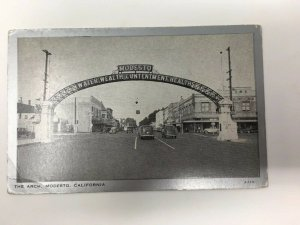 Modesto California The Arch Postcard Cars Buildings Stanislaus County