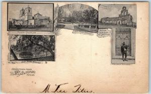 1904 Texas Postcard Greetings from SAN ANTONIO Multi-View / San Pedro Springs