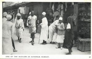 tanzania, ZANZIBAR, One of the Bazaars in Zanzibar Market (1930s) Postcard