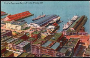 Washington ~ SEATTLE The Docks and Harbor Scene - LINEN - pm1953