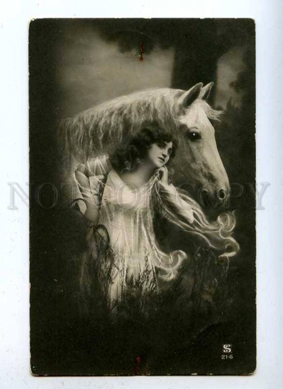 188042 Woman CUPID Long Hair & HORSE Nymph Vintage PHOTO PC