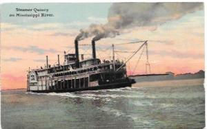 Unused penny post card.  Steamer Quincy on the Mississippi River.