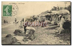 Old Postcard Cabourg On The Beach