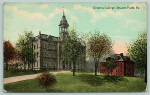 Beaver Falls Pennsylvania~Geneva College~Campus View~Tree Shade Lawn~1912