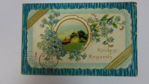 Antique 1910 Posted Postcard Kindest Regards Beautiful Card