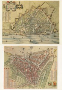 Amsterdam 2x Old Map Repro Holland Postcard s