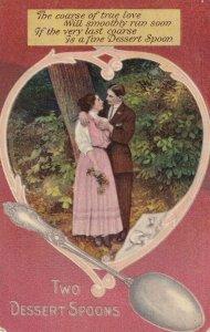 Romantic Couple, Poem, Two Dessert Spoons, PU-1910