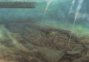 Mary Rose Repair Ship Underwater Operations Painting Postcard