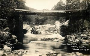 North Newry Maine~Log Bridge Over Bear River at Poplar Tavern~c1937 RPPC