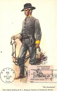 The cavalry man, from original painting Courtesy of Confederate Museum, USA C...