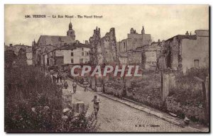 Old Postcard Verdun La Rue Mazel Army