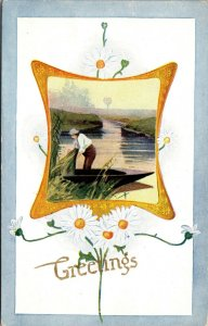 Vintage Antique - POSTCARD - FLOWERS - FISHING - UNPOSTED
