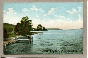 Postcard NY Canandaigua Lake Laphams Dock People Water Nature c1910 -516