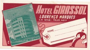 Lourenco Marques Hotel Girassol Vintage Luggage Label sk1679