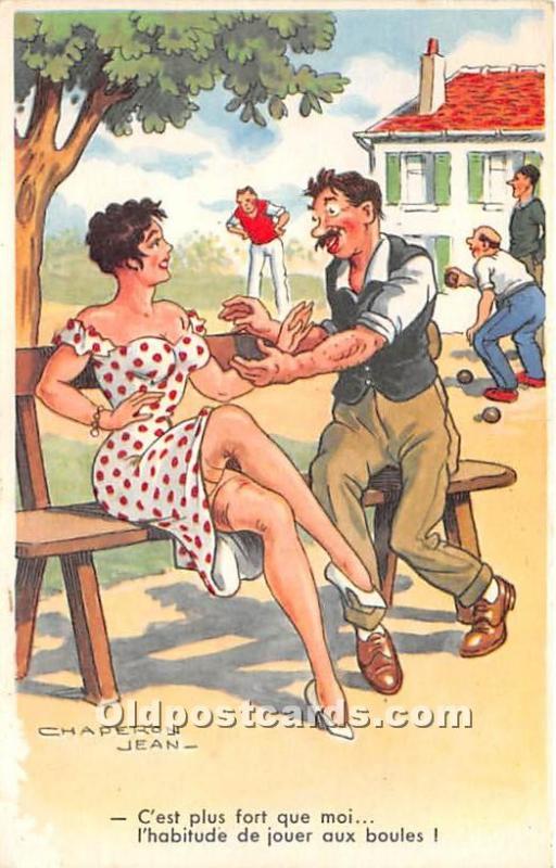 Old Vintage Lawn Bowling Postcard Post Card C'est plus fort que moi by C...