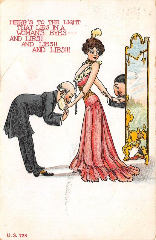 Comic Pun~Here's to the Light That Lies in Woman's Eyes~And Lies!~2 Suitors~1907