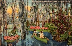 Florida Tampa Canoeing At Dupree Gardens 1942 Curteich
