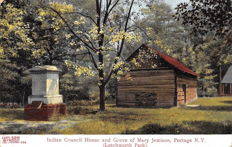 Portage New York~Indian Council House~Mary Jemison Grave~Letchworth Park~1908 PC