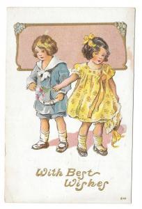 Children Best Wishes Girl Boy Vintage Embossed Gold Gilt Pos