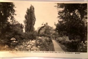 pre-1949 rppc LONGFELLOW WAYSIDE INN GARDEN South Sudbury Massachusetts MA y3601