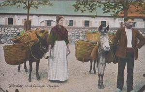 Gibraltar Street Costumes Hawkers Old Postcard
