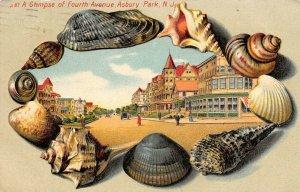 LP45    Asbury Park New Jersey Postcard Sea Shell Border 4th Ave Langsdorf
