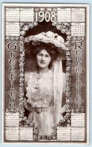 1908 RPPC ROTOGRAPH CALENDAR GIRL GREETINGS REMEMBRANCE*TO DELMAR DELAWARE