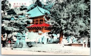 Vintage Nara, JAPAN Postcard Nigatsu-do Temple View Hand-Colored - Unused