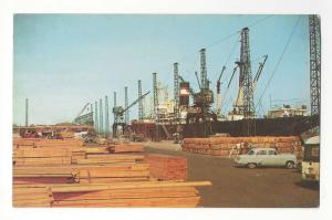 DE Wilmington Marine Terminal Delaware Ship Wharf Lumber Cranes Postcard