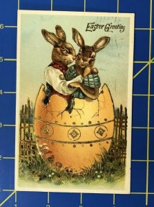 Anthropomorphic Cats Embossed Easter Post Card P2