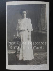 Bury Studio Portrait: Lady dressed in White, Old RP Postcard