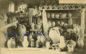 1920 Normandy France Postcard: Interior of Pottery Manufacturer