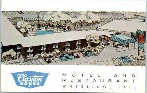 Wheeling, Illinois Postcard CLAYTON HOUSE MOTEL & RESTAURANT Artist's View 1960s