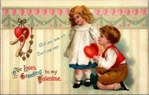 Clapsaddle Valentine~Boy on Bended Knee Offers Heart to Girl~Wallpaper~Embossed