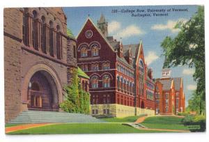 Burlington VT University College Row Vintage Curteich Linen
