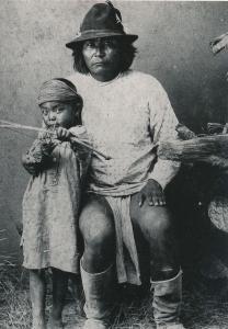 White Mountain Apache Chief and Son Indian circa 1895 Western USA - Recent Print