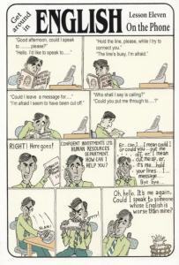 Learn English Language Telephone Disaster Large Comic Humour Postcard
