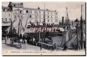 Old Postcard Honfleur L Embarcadere Boat Le Havre