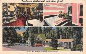 Standford Kentucky Faulkners Restaurant and Auto Court Vintage Postcard AA39808