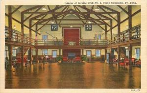 Camp Campbell TN~Interior of Service Club No 2~Soldiers~1942 WWII~Army Postcard