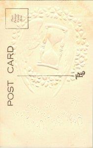Vtg Carte Postale 1910s Un Happy And Prosperous Neuf An Doré en Relief Sablier