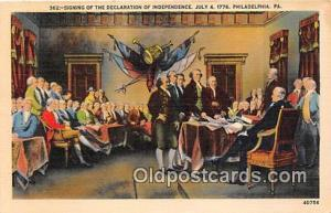 Signing of the Declaration of Independence, July 4, 1776 Philadelphia, PA Pos...
