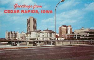 Cedar Rapids Iowa~1st Avenue Bridge~Federal Building~Towers~Parking Garage 1960s
