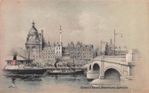 George V Bridge, Broomielaw, Glasgow, Scotland, Early Postcard, Unused